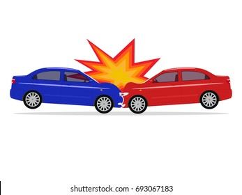 Vector illustration of a cartoon car accident. Isolated white background. Two auto bumped forward. Flat style. Automobile crush.