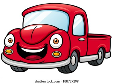 Vector illustration of Cartoon car pickup