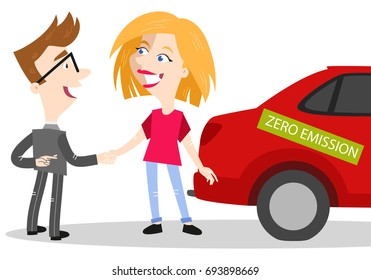 Vector illustration of cartoon car salesman shaking woman's hand selling car labeled zero emission while crossing fingers behind his back
