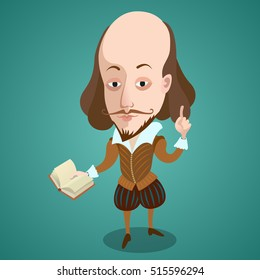 Vector illustration - Cartoon caricature portrait of William Shakespeare