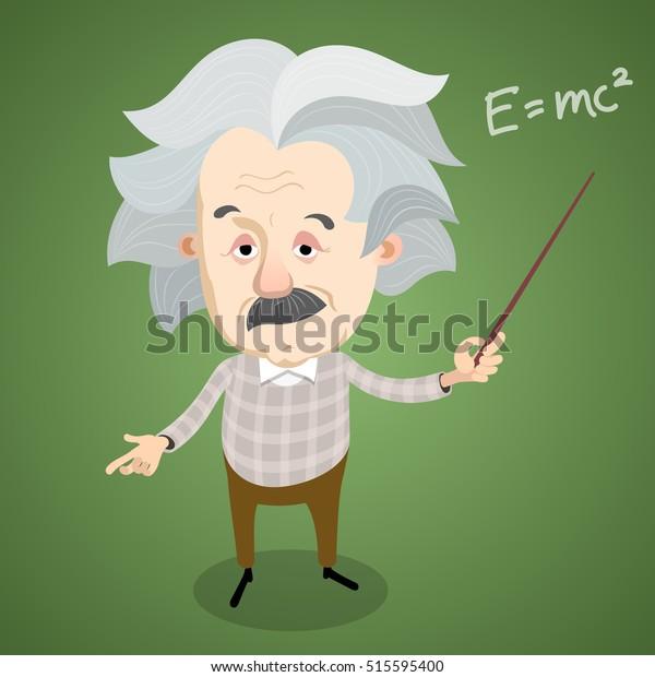 Vector illustration - Cartoon caricature portrait of Albert Einstein
