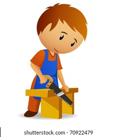 Vector illustration. Cartoon carpenter cutting the wooden panel with handsaw