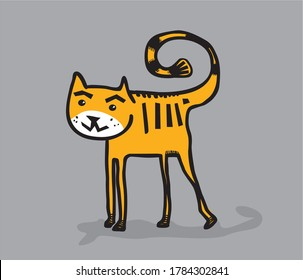 Vector illustration of cartoon cat