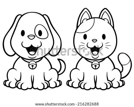 Vector Illustration Cartoon Cat Dog Coloring Stock Vector Royalty