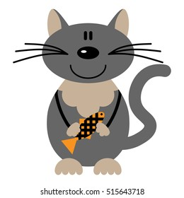 Vector illustration of a cartoon cat holding fish on a white background