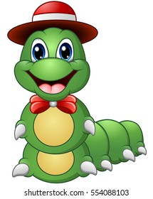 Vector illustration of Cartoon caterpillar with hat and bow tie