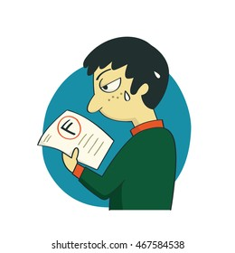 Vector illustration cartoon character of boy or young student showing examination result F grade on paper, with worried and despair expression.