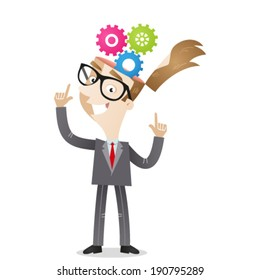Vector illustration of a cartoon character: Businessman pointing at cog wheels in his head.