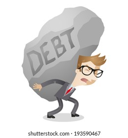 Vector illustration of a cartoon character: Businessman carrying huge rock labeled debt.