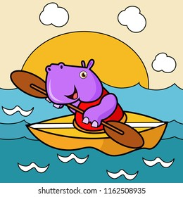 vector illustration of cartoon character cute animals activity, hippopotamus riding row boat on the sea, sport drawing concept for children and kids learning supplies