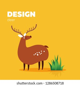 Vector illustration of cartoon character deer on yellow background