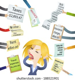 Vector illustration of a cartoon character: Frustrated woman hassled by creditors holding bills, signs, payment demands...