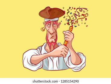 Vector illustration cartoon character pirate sea robber filibuster emoji sticker seaman captain sailor mascot streamer slapstick flapper petard serpentine confetti emotion emoticon isolated yellow