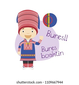 Vector illustration of cartoon character saying hello and welcome in Sami