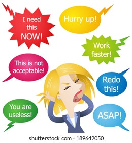 Vector illustration of a cartoon character: Stressed employee being hassled and yelled at.
