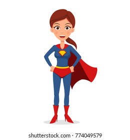 Vector illustration cartoon character. Superhero woman in a suit isolated on white background. Flat style.