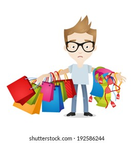 Vector illustration of a cartoon character: Weary and tired looking man holding lots of shopping bags and women's clothes.