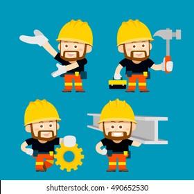 Vector illustration - cartoon character of worker,builder