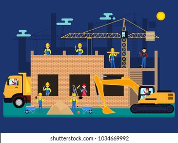 Vector illustration cartoon characters builders on a construction site build a house of bricks. Workers with tools and machines on the building under construction. Flat style.