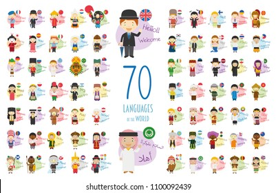 Vector illustration of cartoon characters saying hello and welcome in 70 different languages of the world