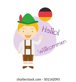 Vector illustration of cartoon characters saying hello and welcome in German