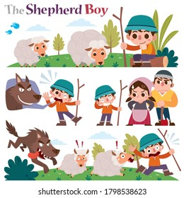 Vector Illustration of Cartoon characters The Shepherd boy. Fairy tale characters set.
