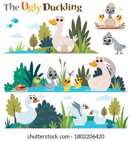 Vector Illustration of Cartoon characters The ugly duckling. Children's Fairy tale.