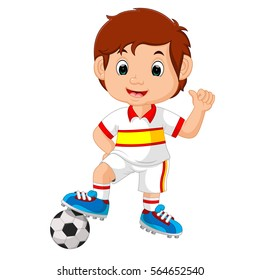 vector illustration of Cartoon child playing football
