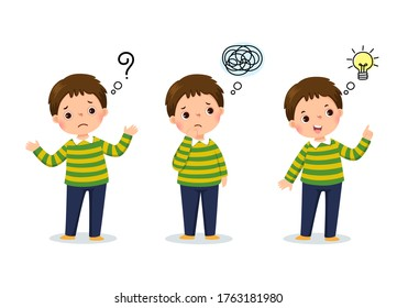 Vector illustration of cartoon child thinking. Thoughtful boy, confused boy, and boy with illustrated bulb above his head.