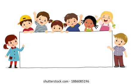 Vector illustration cartoon of children holding blank sign banner. Template for advertising.