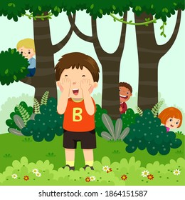 Vector illustration cartoon of children playing hide and seek in the park.
