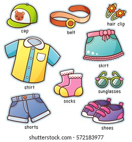 Vector illustration of Cartoon Clothes vocabulary