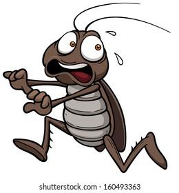 Vector illustration of cartoon cockroach running