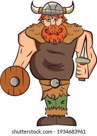 Vector illustration of cartoon comic style viking, barbarian. Redhead, bearded warrior with shield and sword. Funny mascot, character clip art
