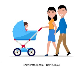 Vector illustration cartoon couple of parents with a stroller and a child. Isolated white background. Happy family walks with baby. Woman and a man with a toddler in a stroller. Flat style.