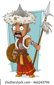 A vector illustration of cartoon crazy Mongolian warrior with spear