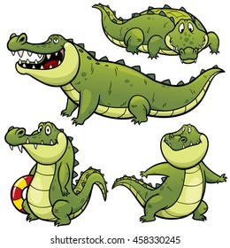 Vector illustration of Cartoon Crocodile Character Set
