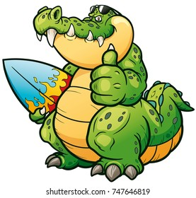 Vector illustration of Cartoon crocodile with surfboard