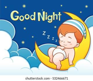 Vector Illustration of Cartoon Cute Baby Sleeping on the moon with Good night text
