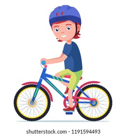 Vector illustration of a cartoon cute boy rides a bicycle in a protective helmet. Isolated white background. Child is riding a bike. Flat style.