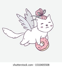 Vector illustration with cartoon cute cat with wings and tasty donut isolated on background