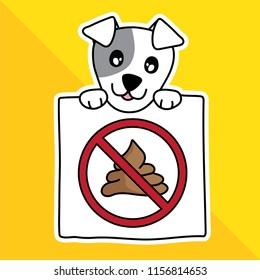 vector illustration cartoon cute pet. sign warning no dog pooping in park.