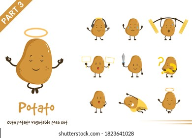 Vector illustration of cartoon cute potato vegetable poses set. Isolated on white background.