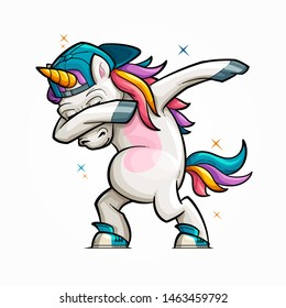 Vector Illustration of a Cartoon Dabbing Unicorn With a Rainbow Tail Wearing a Baseball Cap Backwards.