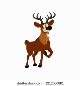 Vector illustration of cartoon deer. Flat style of icons  for banner, New year illustration, greeting card, interior design.