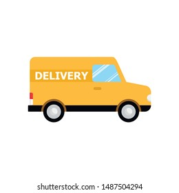 Vector illustration of cartoon delivery van. Isolated on white background. Flat style. Side view, profile. Yellow truck delivery. Cargo auto.