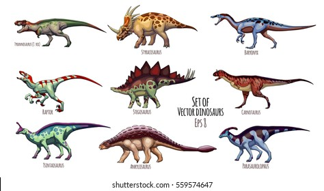 Vector illustration of cartoon dinosaurs, set.