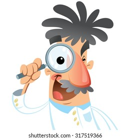 Vector illustration of cartoon doctor isolated in white background. Scientist looking through lens with big eye during research