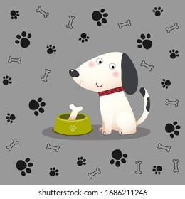 Vector illustration of a cartoon dog with bone in the bowl on paw and bone background.