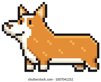 Vector illustration of Cartoon Dog breed welsh corgi - Pixel design